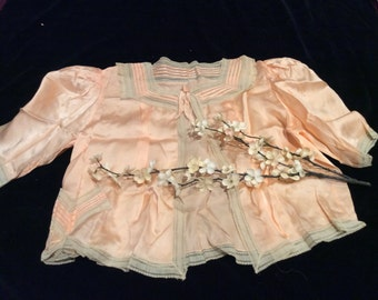 Vintage Peach Silk Satin and Lace Bed Jacket, Vintage Lingerie, Vintage Bed Jacket, Vintage Silk, Vintage Clothing