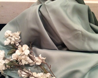 Vintage Light Moss Green Semi Satin Lining Fabric, Vintage  Textiles, Vintage Satin Material