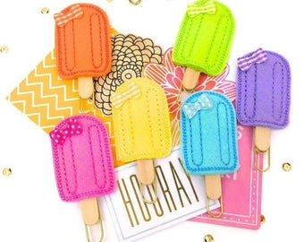 Ice Pop Planner Paper Clip | Popsicle Ice Cream Bookmark.  Cute Paper Clips Filofax, KikkiK, Midori, Erin Condren Summer Magnets and Pins
