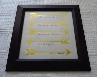 Where You Go I'll Go Arrows - Christian WORD Wall Art - White, Gold Foil, Black and White - Ruth 1:16 Chris Tomlin