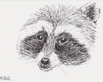 ACEO card Racoon Pen and Ink Drawing, Miniature Animal Sketch with Magnet Frame