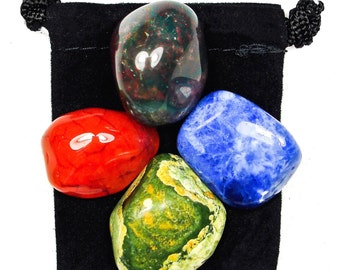 PRESENT in the NOW Tumbled Crystal Healing Set - 4 Gemstones w/Description & Pouch - Bloodstone, Carnelian, Rhyolite, and Sodalite