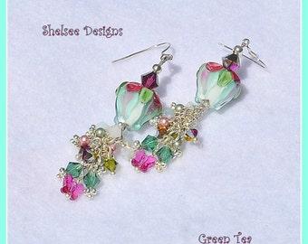 Teal Earrings,Floral Earrings,Lampwork Dangle Earrings,Rose Earrings,Bead Earrings,Glass Earrings - GREEN TEA
