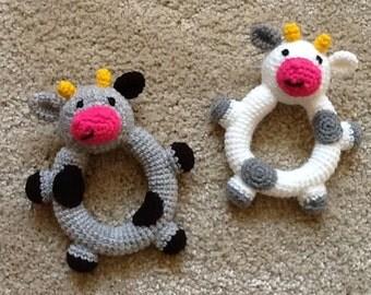 Crochet cow, amigurami toy, cow rattle, newborn gift.