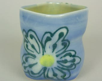 Thrown Blue Square Cup with Flower Pattern /Yunomi