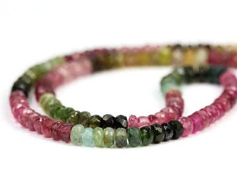 Tourmaline Mico Faceted Rondelles 10 Pieces 4MM Pink Green Yellow Brown Petro Semi Precious Gemstone