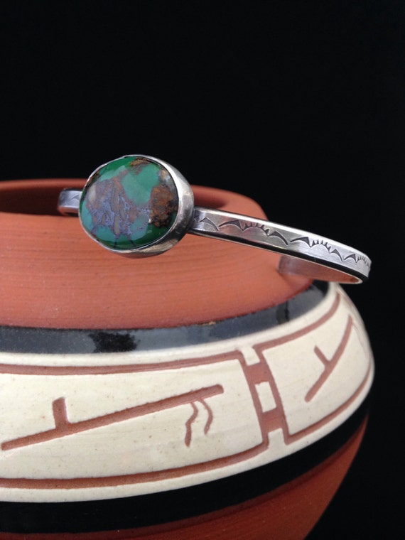 Handmade Southwestern Stamped Sterling Silver Emerald Green Royston Turquoise Cuff/Bangle