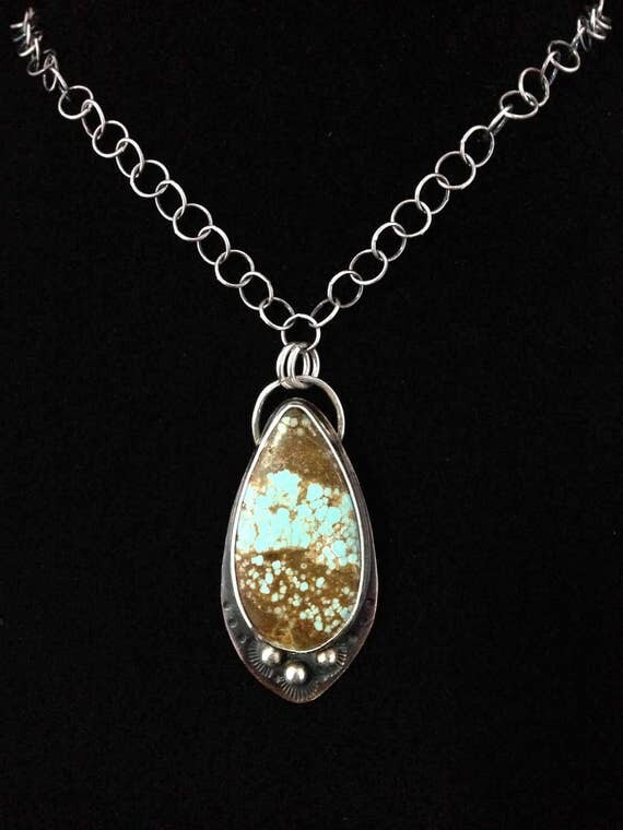 Handmade Jewelry, One of a Kind, Number 8 Turquoise, Pendant, Southwestern, Boho, Cowgirl Necklace, Teardrop Turquoise