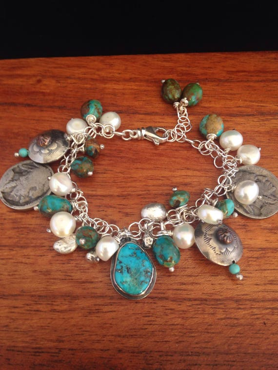 Handmade, One Of A Kind, Southwestern, Sterling Silver, Bisbee, Kingman Turquoise, Pear, Hand Stamped Beads, Charm Bracelet