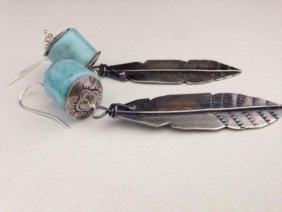 Handmade Earrings, Larimar Earrings, Feather Earrings, Southwest Jewelry, Boho Chic, Dangle Earrings