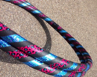 Collapsible Hula Hoop - Pink & Blue Sequin Leopard Print Hoop - Dance and Exercise - 100 or 125 PSI P - Beginner Intermediate Advanced
