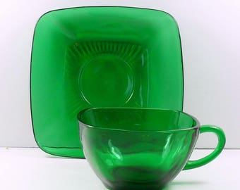 Anchor Hocking Charm Forest Green Square Cup and Saucer Set Coffee or Tea Fire King Vintage