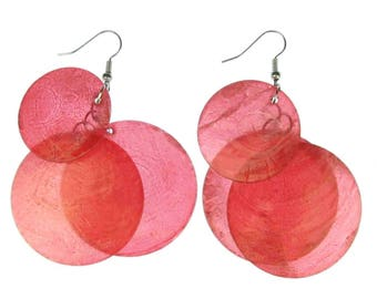 Pearl earrings Pearl shell pearl discs Miniblings Hippie Boho Red XL