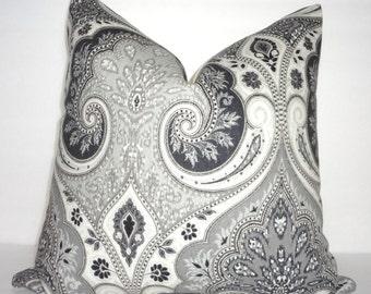 INVENTORY REDUCTION Latika Kravet Shadow Decorative Linen Pillow Cover Kravet Grey Charcoal Paisley Print Pillow Cover 18x18