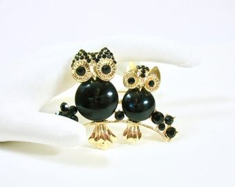 1960's Owl Brooch, Two Owls, Mother, Baby, Owl Pin, Black Cabochon, Black Stones, Gold Tone, Sophisticated, Bird Pin, Gift Idea, Excellent