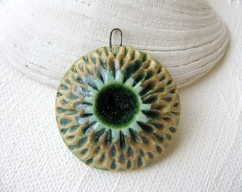 Green Sea Flower Pendant Stoneware Clay