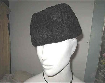 Vintage Don Anderson Karakul Jinnah Cossack Hat; Black Faux Fake Fur Persian Lamb; Saks Fifth Avenue; Warm Winter Hat; Designer Hat