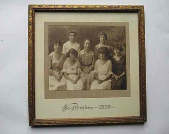"""Antique 1920s Dated Family Photograph Framed; 7 Sisters """"September 1920""""; Gold Carved Wood Frame 11 x 10-3/4 x 5/8; Photo 6 x 7-1/4; Vintage"""