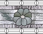 Custom listing for SM stained clears glass panel with daisies 29 x 9