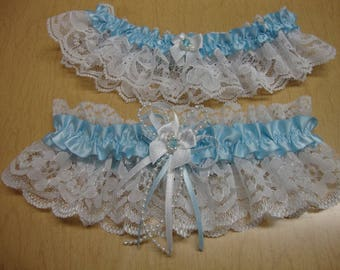 Garter set, Blue Garter Set, Bridal lace garter set