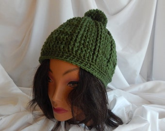 Crochet Pom Pom Hat Beanie - Olive Green - Woman's Fashion Hat