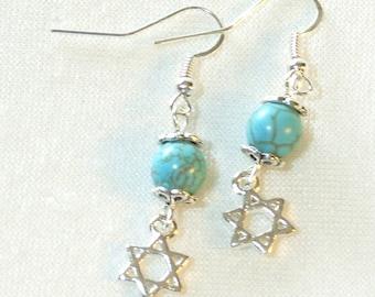 Star of David Earrings - Howlite Turquoise