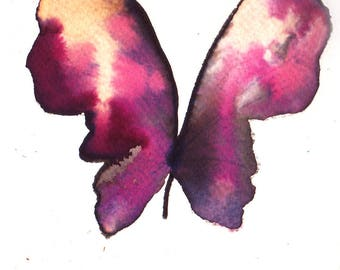 shocking and fuscia pink, white gold and black butterfly original watercolour painting