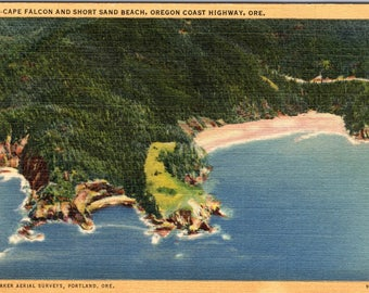 Cape Falcon, Oregon, Short Sand Beach, Oregon Coast Highway - Vintage Postcard - Postcard - Unused (O)