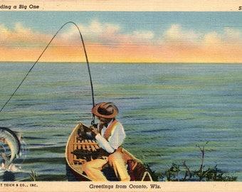 Oconto, Wisconsin, Fishing, Fisherman - Linen Postcard - Vintage Postcard - Unused (VV)