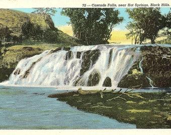 Black Hills, South Dakota, Cascade Falls - Linen Postcard - Vintage Postcard - Unused (W)