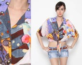 ON SALE Vintage 90s Colorful Crop Top with Tie Front