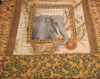 """14"""" x 14"""" PILLOW COVER - Exotic World Market African Savannah Grey Elephant reaches out from Map Frame"""