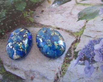 Czech Sea Blue Opal Glass Cabs 18x13mm 2Pcs.