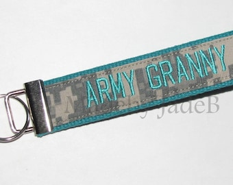 Army Granny Key Fob In Turquoise and ACU