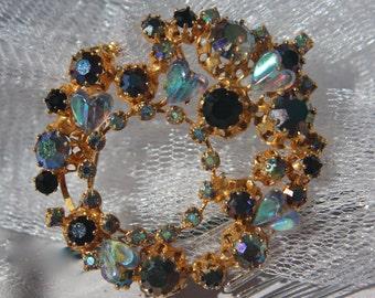 Vintage Bridal Sapphire Hair comb, Heart Rhinestone Brooch, Vintage Wedding Accessories, Kramer Broch, Sapphire & Light Blue AB Brooch