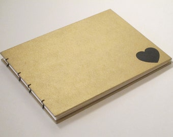 Large Metallic Gold and Black Heart Guest Book: Romantic Heart Wedding Guestbook
