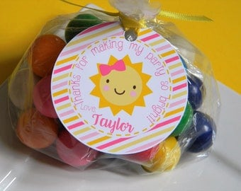 You Are My Sunshine Birthday Party Personalized Favor Tags, Thank You Tags, Treat Tags, Goody Bags,  Party Favors, Party Decor, Set of 12