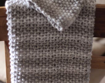 Baby Shower Gift, Knitted Blanket and hat, Gray and white shower boy gift