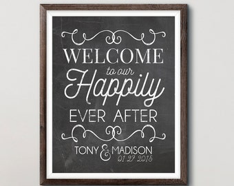 Happily Ever After - Welcome Sign - Wedding Welcome Sign - Fairy Tale Wedding - Chalkboard Poster - Wedding Signage - Personalized Wedding