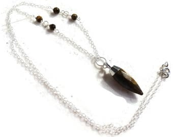 Tiger Eye Necklace - Sterling Silver Jewelry - Brown Gemstone Jewellery - Spike Pendant - Fashion