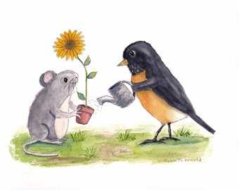 Mouse and Robin Print of Original Watercolor Painting,whimsical,nursery art, wall art,animal,bird,nature,mouse,watercolor,flower,wildlife