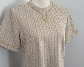 1960's  A -Line Short Sleeve Sheath Dress Large
