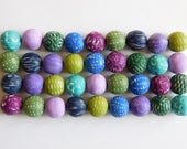 Polymer Clay Beads for jewelry and beading crafts, textured beads, set of 9 multi colored beads