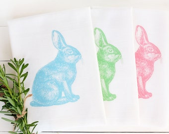 Easter Rabbit Kitchen Tea Towel, Pastel, Flour Sack Towel, Spring, Cotton Kitchen Towel, Hostess Gift, Home Decor, Housewares, Gift Under 20