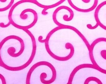"Fuchsia organza embroidered locking velvet fabric 58"" per yard"
