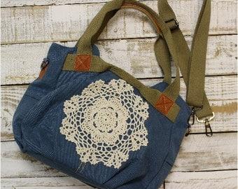 Denim canvas handbag | purses, messenger, unique, lace-handmade, women, boho, rustic, bags, tote, crochet, accessories | H3