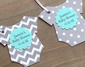 Set of 12 Personalized Gray Polka Dot And Gray Chevron Bodysuit Tags With Teal Scallop -  Baby Shower - Favor Gift Tags