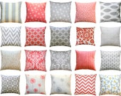 CLEARANCE Throw Pillows, Storm Grey or Coral Pillow Cover, Zippered Pillow, Gray Pillow Case, Coral Cushion Accent Pillow, Decorative Pillow