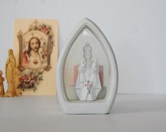 Vintage Infant of Prague Candle Holder, Porcelain Infant of Prague Shrine, Catholic Altar, Personal Shrine, Touch of Rose by Roman Tea light