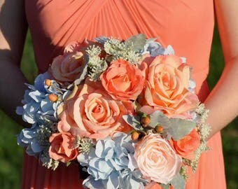 Wedding Bouquet, Silk Flower Bouquet made with Coral Roses, Peach Roses, Blue Hydrangea and Queen Anne's Lace Faux Flower Bouquet.